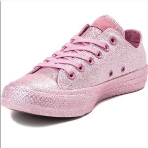 CONVERSE pink glitter chuck lo low top sneakers 9